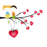Kids and hearts Stock Photos