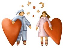 Kids with hearts. Illustration of a boy and  girl in pajamas whith hearts Stock Photography