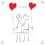 Kids with hearts for greeting card Stock Photo