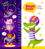 Kids height chart with cartoon circus artists Stock Image