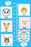 Kids height chart.Cute and funny animals. Kids height chart.Cute and funny animals, cartoon vector illustration royalty free illustration
