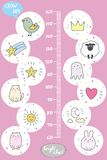 Kids height chart.Cute and funny animals. Doodle vector illustration Royalty Free Stock Photos