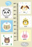 Kids height chart.Cute and funny animals. Vector illustration stock illustration