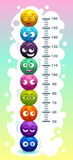 Kids height chart with funny cartoon colorful round fluffy characters. stock illustration