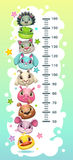Kids height chart template with funny cartoon round animals. vector illustration