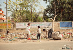 Kids help to clean up the garbage for recycling Royalty Free Stock Image