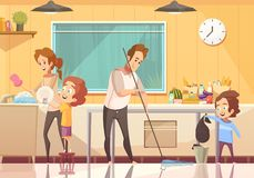 Kids Helping Cleaning Cartoon Poster vector illustration