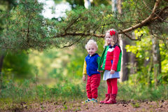 Kids hiking in autumn park Royalty Free Stock Image