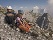 Kids hiking and climbing Royalty Free Stock Photography