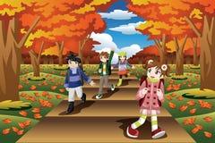 Kids Hiking in the Fall Season vector illustration
