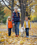 Kids with his dog labrador Royalty Free Stock Images