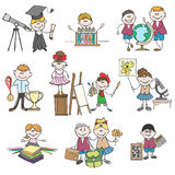 Kids hobbies doodle drawings. Boy and girl, childhood and school education. Doodle drawings kids hobbies or hand drawn children hobby set vector illustration Stock Photos