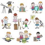 Kids hobbies doodle drawings Stock Photos