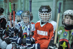 Kids hockey players Royalty Free Stock Photos