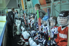 Kids hockey players. In anticipation of the match, match to celebrate the Day of the Marine Corps, Russia, St. Petersburg Stock Image