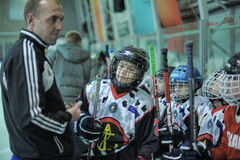 Kids hockey players. In anticipation of the match, match to celebrate the Day of the Marine Corps, Russia, St. Petersburg Stock Photo