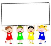 Happy Kids Holding Big Banner. Four multicultural kids hold a big banner isolated on white background Stock Photos