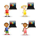 Kids Holding ABC Computers. An illustration featuring a group of kids holding laptop computers that have ABC on the screens stock illustration