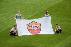 Kids holding AS Roma's banner Royalty Free Stock Photos