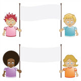 Kids holding banners. Children holding blank banner signs ready for text Royalty Free Stock Photography