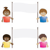 Kids holding banners. Children holding blank banner signs ready for text Royalty Free Stock Images