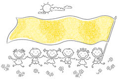 Kids holding a big yellow flag vector illustration