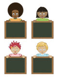 Kids holding blackboards Stock Images