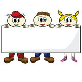 Kids holding blank card Royalty Free Stock Photography
