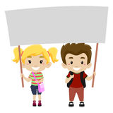 Kids Holding a Blank Signage. Vector Illustration of a Kids Holding a Blank Signage Stock Photos