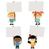 Kids holding blank signs Royalty Free Stock Photography