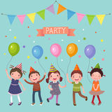 Kids holding colorful balloons at a party Stock Photo
