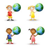 Kids Holding The Earth stock illustration