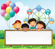 Kids holding an empty signboard stock illustration