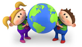 Kids holding globe. Cute cartoon boy and girl holding a globe - high quality 3d illustration Royalty Free Stock Images