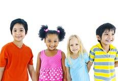 Kids Holding Hand Isolated on White Stock Image