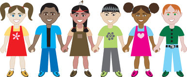 Kids Holding Hands 1. 6 Kids from around the world holding hands in unity. Diversity vector illustration
