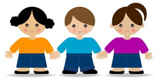 Kids holding hands. Two girls and one boy holding hands stock illustration