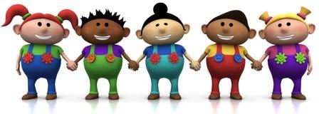 Kids holding hands. Five colorful multi-ethnic cartoon kids holding hands - 3d rendering/illustration stock illustration