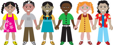 Kids Holding Hands 2. 6 Kids from around the world holding hands in unity. Diversity stock illustration