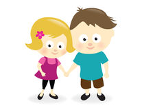 Kids holding hands. Illustration of a girl and boy holding hands vector illustration