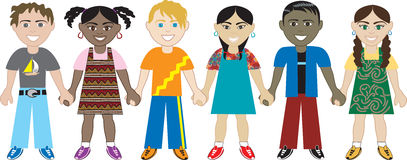 Kids Holding hands 3 vector illustration