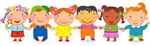 Kids holding hands. Multi culture kids holding hands stock illustration