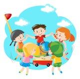 Kids holding hands around the wagon. Illustration vector illustration
