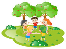 Kids holding hands in circle Stock Photos