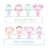 Kids holding hands. Illustration of kids holding hands - colored chalk drawing royalty free illustration