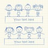Kids holding hands. Illustration of kids holding hands - ink chalk drawing vector illustration