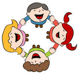 Kids Holding Hands. An image of children holding hands while looking up smiling vector illustration