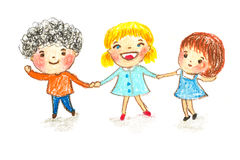 Kids holding hands, oil pastel painting illustration Stock Photo