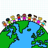 Kids holding hands the planet earth . Royalty Free Stock Photo