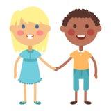 Kids holding hands vector. Kids holding hands together. Boy and girl kids holding hands vector character. Kids holding hands cute little boy and girl vector illustration